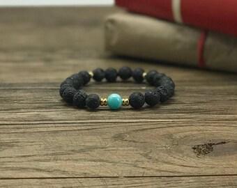 Lava Bead Bracelet | Lava Diffuser Bracelet, Lava Stone Bracelet, Essential Oil Bracelet, Turquoise Gold Bracelet | Aromatherapy For Less