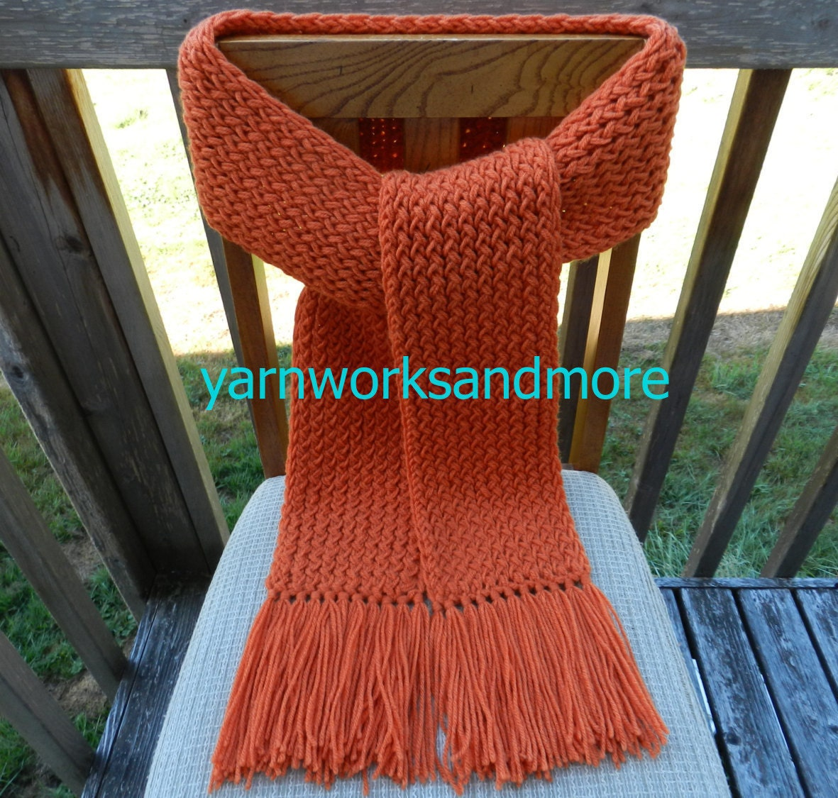 Knitting Loom Scarf Fringe : Orange Knit Scarf Winter Scarf Knit Scarf Loom Knit Scarf