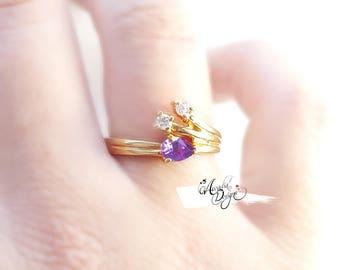 Amethyst Gemstone and Quartz Golden Ring. February Birthstone Purple Stone Jewelry Art Deco Starry Night Violet Gem Ring | Bridesmaid Gift