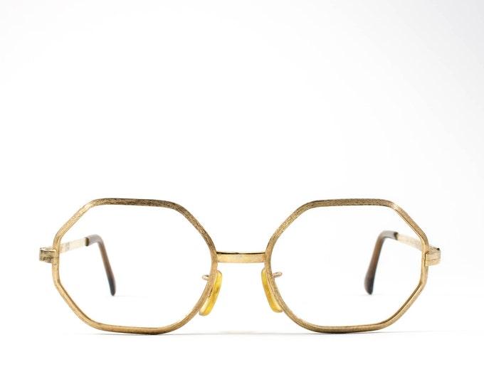 1960s Vintage Eyeglasses | 60s Glasses | Octagon Glasses | Gold Eyeglass Frame | Big Geometric Glasses - Comet