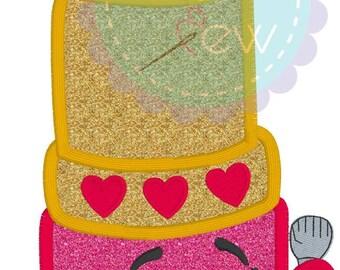 Shopkins Lipstick Inspired machine embroidery applique design Instant Download 4x4 5x7 6x10