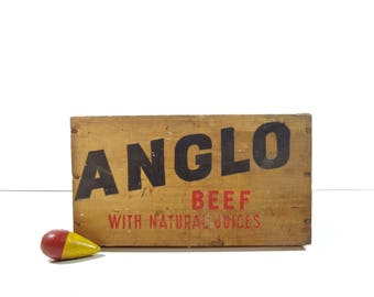 Vintage Wood Crate / Anglo Beef Wooden Crate Box / Rustic Storage
