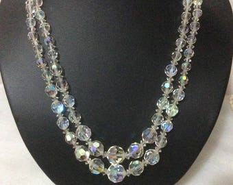 Vintage stunning 1950's Crystal aurora borealis two strand necklace