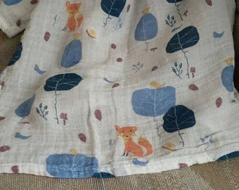 "47""x47"" Double Gauze Muslin Swaddle, Trees & Foxes in White, Extra Large Newborn Wrap"