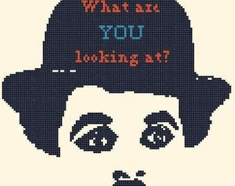 charlie chaplin Cross Stitch Pattern Pdf punto de cruz  needlework kreuzstitch 118 x 118 stitches - Instant Download - B1420