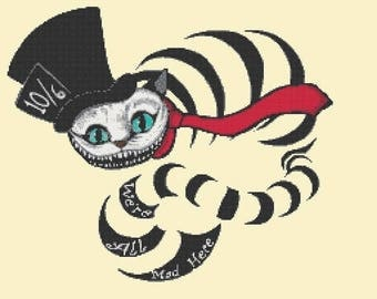 We're all mad Alice Cheshire cat Cross Stitch Pattern Cheshire pattern korss - 248 x 211 stitches - INSTANT Download - B1236