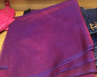 "Vintage Rare 1950's Organza Old Stock Burgundy/blue 2 Yard 4"" X 48"" Excellent .For clothing,accessories, costume, 1950s attire,women,"