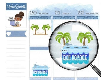 Cruise Vacation Countdown Planner Stickers, Cruise stickers, Vacation Planner, Countdown Stickers
