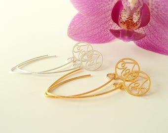 Love Earrings in Sterling Silver,  Dangle Silver Earrings, Gold Earrings, Long Earrings, 925 silver jewelry