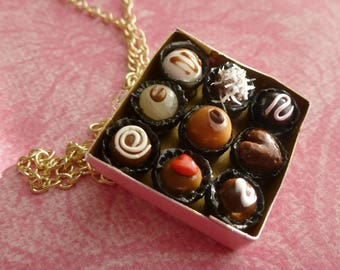 Valentine's Day Box of Chocolates Valentine's Day Gifts Miniature Food Jewelry Polymer Clay Box of Chocolates