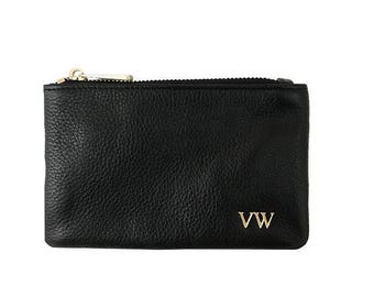 PERSONALISED MONOGRAMMED Pebbled Leather Black Coin Pouch
