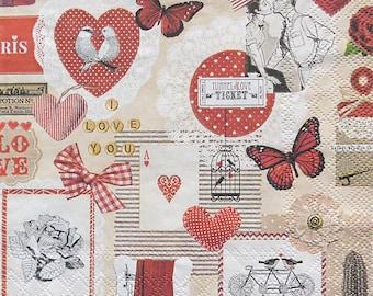 Set of 2 pcs 3-ply ''Love'' paper napkins for Decoupage or collectibles 33x33cm, Decopatch napkins, Servetten, Servietten