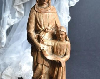 25% SALE Antique French Statue Saint Ann & The Virgin Mary