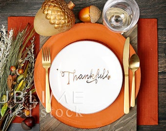 Thanksgiving Table / Place setting / Styled Stock Photography / Fall Table / Table Decor / Mock up / Menu  / Table Setting / StockStyle-884