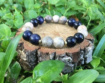 Blue Sandstone + Chrysanthemum Stone Bracelet(10mm)