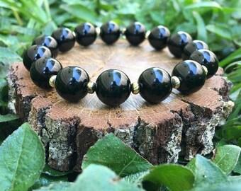 Dorothy Bracelet- Polished Black Onyx Agate(10.5mm) - beaded bracelet- gemstone- boho- oliver grey jewelry