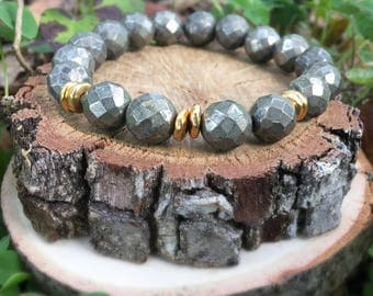 Priscilla Bracelet- Hematite(10mm) & Gold Nugget- metallic bracelet- Gray and gold- boho beaded bracelet - OliverGreyJewelry
