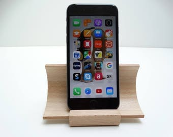 Wooden smartphone stand , Stand wood iphone, beech i phone stand, curved plywood