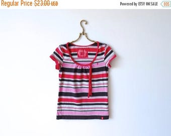 ON SALE Striped Cotton Top Jersey Top Elastic Top Casual Wear Short Sleeve Top Red Pink Brown Gray Top Size Medium