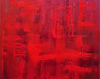 """Original Abstract Oil Painting by Nalan Laluk: """"Red Dawn"""""""