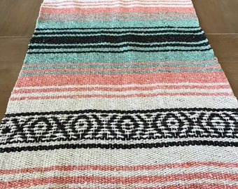 Mexican table runner, teal and peach falsa blanket, boho chic decor, rustic wedding, tribal decorations, pastel beach blanket or yoga mat