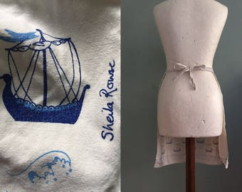 Vintage Half Pinny Apron Novelty Nautical blue and white Ships and Waves Sheila Rowse print Cotton