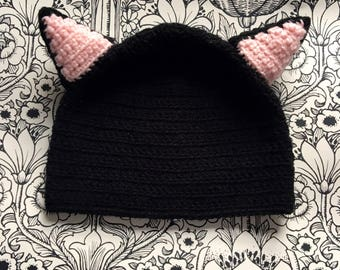 Meow! Gorgeous, children's black cat hat. Hand made in soft wool. Baby/toddler/child and beyond sizes available.