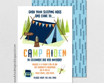 Camping Birthday Party Invitation 2, Glamping Party Invitation, Customized, Digital File