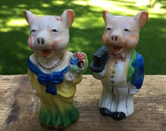 Vintage Pig Bride and Groom Salt and Pepper Shakers