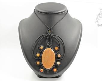 Onyx macrame necklace