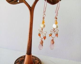 Rose Gold Chandelier Earrings, Chandalier Earrings, Wire Wrapped with pearl