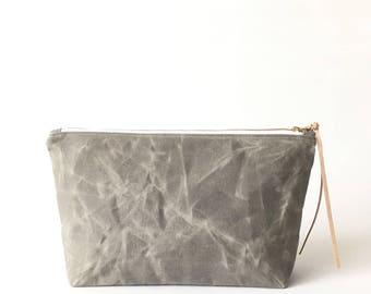 SALE: (less than perfect) ALUMINUM waxed canvas cosmetic bag