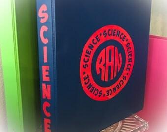 SCHOOL supplies, Personalized three ring binder, Monogram three ring binder, Personalized binder, Monogram binder