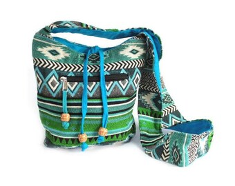 Shoulder bag, eco-bag, blue-green