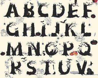 """alphabet halloween counted Cross Stitch abc Pattern chart pdf file point de croix kreuzstichvorlagen - 32.93 """" x 34.93 """" - L1232"""