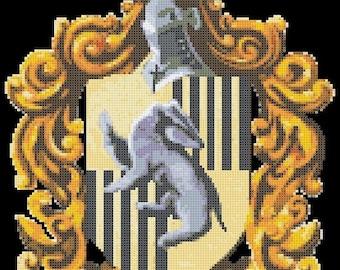 """Potter Cross Stitch Pattern hufflepuff cross hufflepuff pattern needlework needlepoint embroidery - 9.57"""" x 11.86"""" - L1460"""