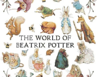 "The world of beatrix potter counted Cross Stitch Pattern chart pdf format modern cross stitch - 17.00"" x 20.79""  - L1530"