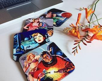 Set of 4 - Retro Coasters - Sci-Fi