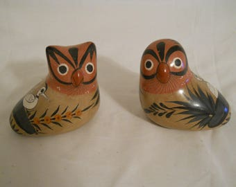 Owls Pottery Mexican Tonala Figurines Mexico Ceramic Folk Art Great Gift for Owl Hand Painted