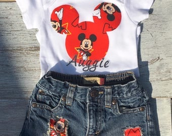 Mickey Mouse distressed jeans, Mickey Mouse onesie, personalized Mickey Mouse onesie, Mickey Mouse first birthday outfit, Mickey onesie set
