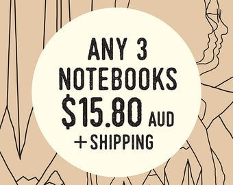 Any 3 Kraft Notebooks Lined or Blank plus 3 vintage-inspired pencils, Illustrated 'PENCIL FOR LIFE' A6