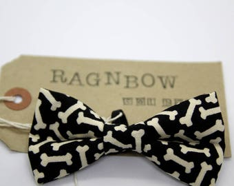 Bone Print Cat Bow Tie / Cat Collar Bow Tie / Kitten Bow Tie / Small Dog Bow Tie (Removable)