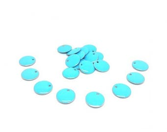 20 sequins enamelled Turquoise 12mm