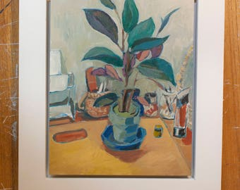 Framed Still Life Oil Painting with Plant