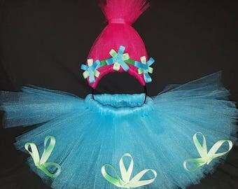 Poppy costume - Princess Poppy troll tutu and headband - first birthday outfit - trolls Halloween costume