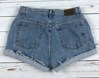 VTG 90s Calvin Klein High Waisted Denim Cutoff Shorts Size: 32""