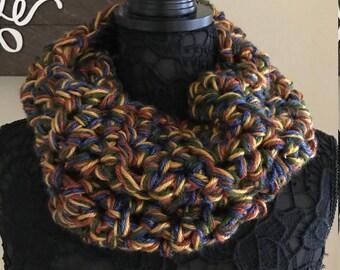 Crochet Chunky Cowl Infinity Scarf Olive Green, blue, gold, brown - Handmade Crochet - S16