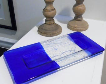 Indigo Blue Art Glass Plate  with Stringer Accents, 12 x 7, Fused Glass Art Cobalt