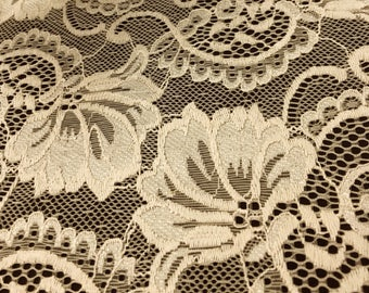 "Banana Stretch Lace Fabric Floral Embroidery Poly Spandex 58"" Wide BTY Wedding Apparel Victoria"