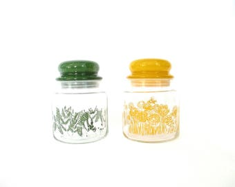 Vintage Glass Storage Jars Set 1970's Glass Kitchen Canisters Set of 2 Retro Kitchen Storage Butterflies Flowers Leaves Pantry Craft Storage